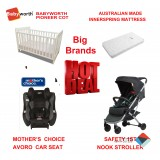 MOTHER'S CHOICE AVORO CONVERTIBLE CAR SEAT BABYWORTH BW01 COT NOOK PRAM Play COLOR NEWBORN BABY PACKAGE