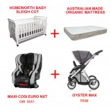 MAXI-COSI  Euro NXT CONVERTIBLE CAR SEAT BABYWORTH BW03 COT OYSTER MAX PRAM NEWBORN BABY PACKAGE