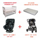 SUMMIT  AP CONVERTIBLE CAR SEATS VISTO PRAM BABYWORTH BW01 COT PACKAGE
