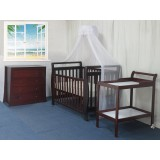 BABYWORTH BW08 Sleigh Cot Change Table Chest Walnut Mattress Pad PACKAGE
