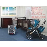 Maxi Cosi Euro Car Seat & Oyster Max Double Seats Pram & BABYWORTH BW08 Sleigh Cot Change Table Chest Walnut Mattress Pad PACKAGE