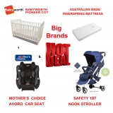 MOTHER'S CHOICE AVORO CONVERTIBLE CAR SEAT BABYWORTH BW01 COT NOOK PRAM NAVY NEWBORN BABY PACKAGE
