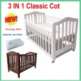 NEW 3 IN 1 CLASSIC COT & MATTRESS CRIB BABY TODDLE BED WHITE