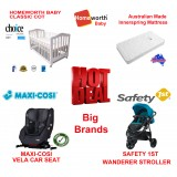 MAXI-COSI VELA CONVERTIBLE CAR SEAT BABYWORTH BW02 COT SAFETY 1ST WANDERER PRAM NEWBORN BABY PACKAGE