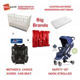 MOTHER'S CHOICE AVORO CONVERTIBLE CAR SEAT BABYWORTH BW01 COT NOOK PRAM NAVY NEWBORN BABY PACKAGE