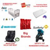 MAXI-COSI VELA CONVERTIBLE CAR SEAT BABYWORTH BW02 COT SAFETY 1ST WANDERER PRAM NEWBORN BABY PACKAGE